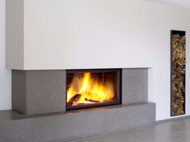Wood-burning wall-mounted glass and steel fireplace STÛV 21/125 SF