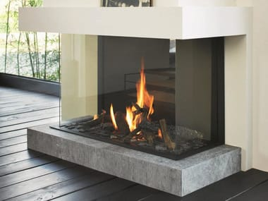 Gas 3-sided glass and steel fireplace STÛV B-100 H | 3-sided fireplace