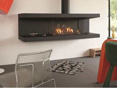 Open steel fireplace with panoramic glass STÛV C-200