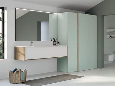 Mueble bajo lavabo suspendido de madera SUITE 06