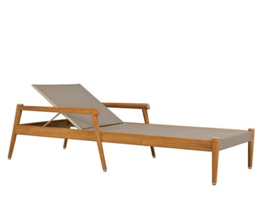 Recliner teak sun lounger with armrests KONOS | Sun lounger