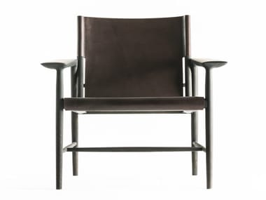 Tanned leather easy chair with armrests SUNSET | Easy chair