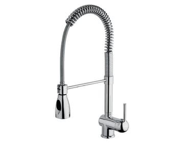 Single handle brass kitchen mixer tap with spray SUPERFLEX