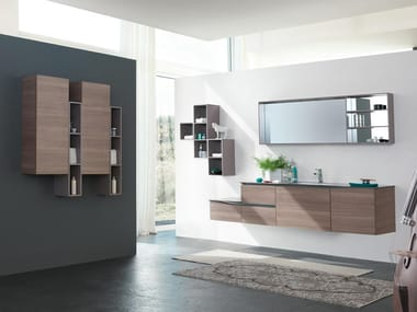 Wall-mounted vanity unit with mirror SWING 01