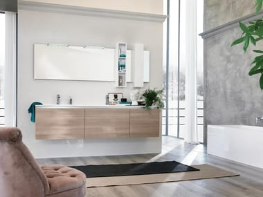 Wall-mounted vanity unit with mirror SWING 02