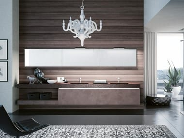 Double wall-mounted vanity unit with mirror SWING 03