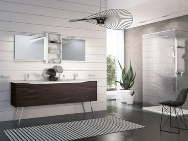 Floor-standing double vanity unit with mirror SWING 04