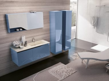 Wall-mounted vanity unit with mirror SWING 08