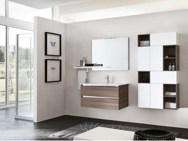 Wall-mounted vanity unit with mirror SWING 14