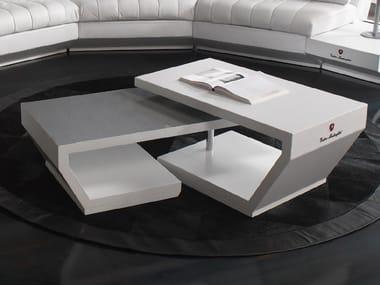 Low Swivel Leather Coffee Table VALENCIA | Swivel Coffee Table