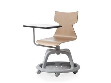 Cadeira de conferência giratória de faia com armazenamento KIMBOX WOOD   Cadeira de conferência giratória