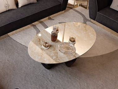 Oval marble coffee table for living room SYMPHONY - INFINITY | Marble coffee table