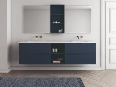 Double wall-mounted vanity unit with drawers SYNERGY | Double vanity unit