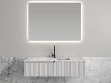 Single polyurethane vanity unit with Carrara marble top SYNERGY | Polyurethane vanity unit