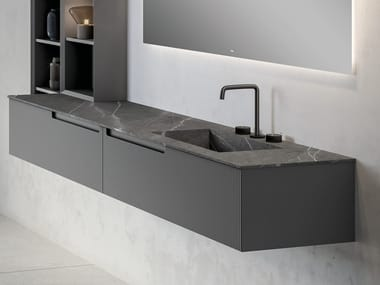 Sectional single vanity unit with Pure natural stone top SYNERGY | Sectional vanity unit