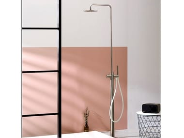 Floor Standing Stainless Steel Shower Panel With Overhead Shower SYNTH |  Shower Panel