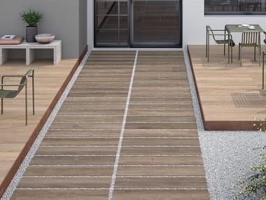 Porcelain stoneware outdoor floor tiles SYSTEM L2 LODGE BROWN - GROVE L2