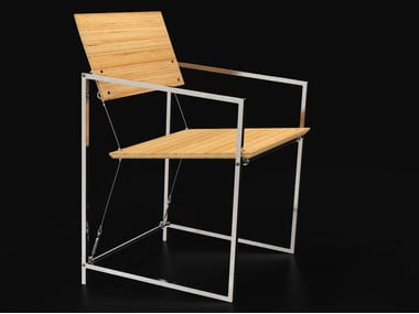Steel and wood chair with armrests SYSTEM XIX   Chair