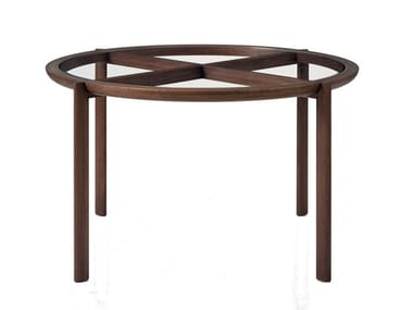 Round wood and glass table SPOKE | Table