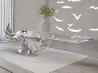 Rectangular glass and aluminium table LE ALI | Table