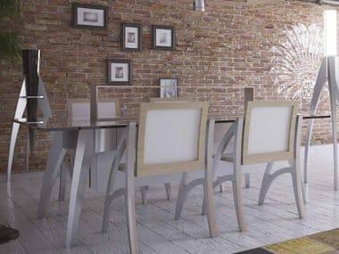 Tavolo rettangolare in alluminio e vetro I DIFETTI PREZIOSI | Tavolo