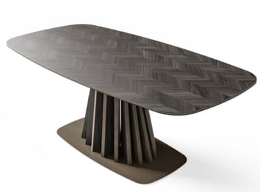 Rectangular wood veneer and walnut table DRAGONFLY | Table