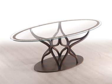 Oval wood and glass table DOUGLAS | Table