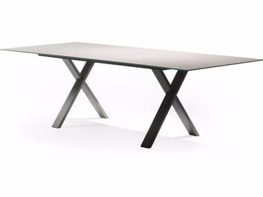 Tavolo da giardino da pranzo rettangolare in Xeramica CROSS | Tavolo