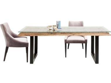 Tavolo da pranzo rettangolare in legno e vetro KALIF   Tavolo