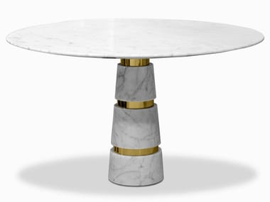 Round Carrara marble table AVALANCHE | Table