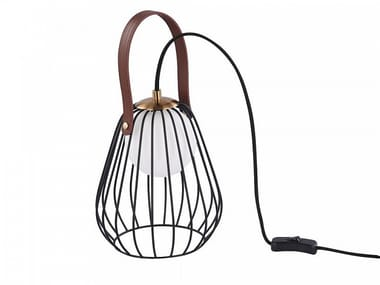 Leather and metal table lamp INDIANA | Table lamp