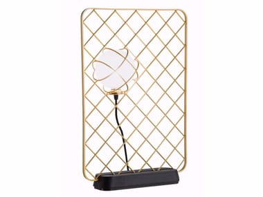 Halogen glass and steel table lamp LIGHT CATCHER   Table lamp