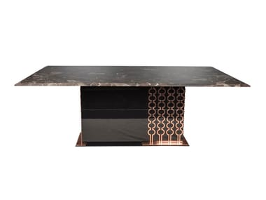 Rectangular wooden and marble dining table COCKTAIL | Table