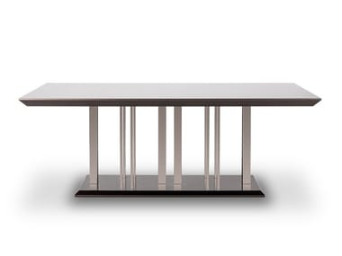Lacquered stainless steel and wood dining table EMPIRE | Table