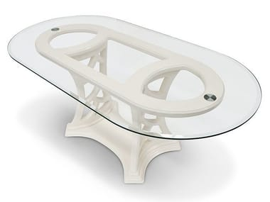 Oval wood and glass living room table MONTECARLO | Table