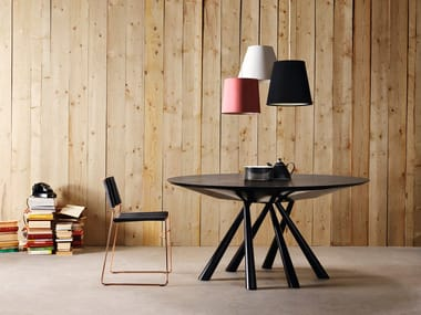 Round wood veneer table FOREST   Round table