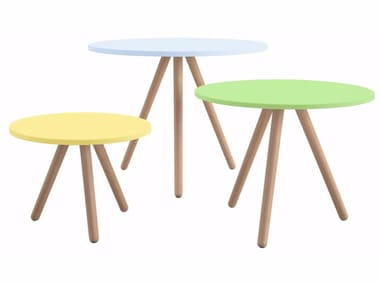 Lacquered round MDF table WOODY | Table