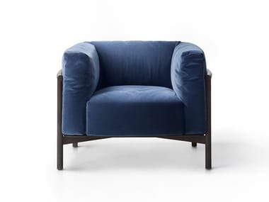 Upholstered leather armchair with armrests TAIKI | Armchair