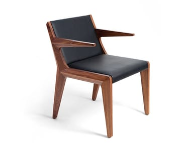 Leather chair with armrests TAKE A SEAT | Leather chair