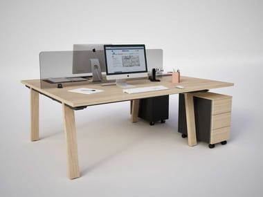Office workstation with desk screens with shelves TAKE OFF EVOLUTION FARM   Office workstation
