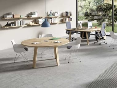 Meeting table with cable management TAKE OFF EVOLUTION FARM | Round meeting table