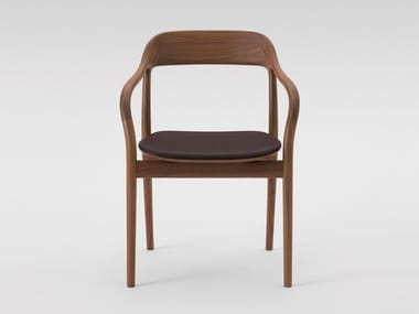 Walnut chair with integrated cushion TAKO 2E02-61