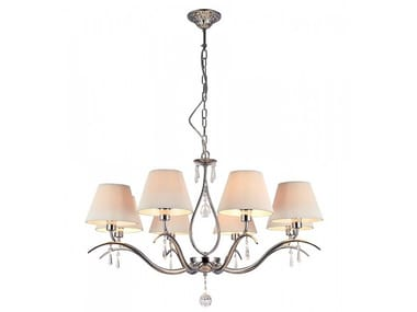 Fabric chandelier with crystals TALIA | Pendant lamp