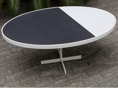 Oval porcelain stoneware coffee table TALK   Oval coffee table