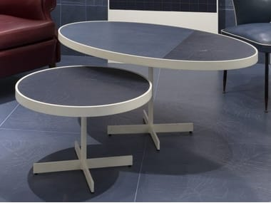 Round porcelain stoneware coffee table TALK | Round coffee table