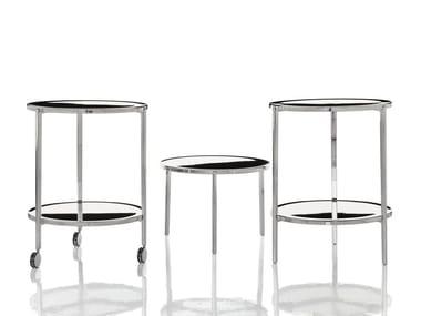 Low aluminium coffee table with castors TAMBOUR | Coffee table with castors