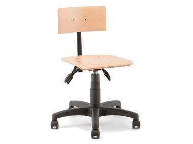 Height-adjustable beech task chair with castors RUMBA | Task chair