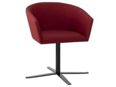 Fabric chair with 4-spoke metal base with armrests TATI PO01 BASE 24