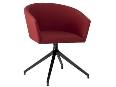 Trestle-based fabric chair with armrests and metal base TATI PO01 BASE 22