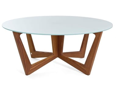 Round solid wood and glass coffee table TAULINÙT 80